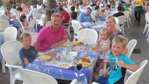 Krissy and family at dinner